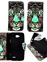 karzea ™ красочный лев искусственная кожа Вернуться ТПУ живопись держателя карты бумажник случае с овальной пряжкой для LG Optimus L90 d405