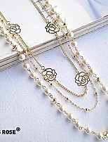 Pearl Alloy Hollow Out Flower Necklace
