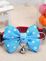 patrón de puntos meshbelt ajustable bowknot azul y un collar decorado campana para perros