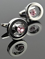 Toonykelly Fashion Men's Silver Copper Pink Crystal Cufflink(1 Pair)