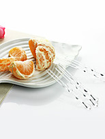Disposable Transparent Plastic Bamboo Joint Shape Fruit Forks,1000Pcs/set