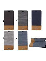 Canvas Lines Hit Color No Buckle PU Leather Full Body Case for Sony Xperia Z3 Mimi(Assorted Color)