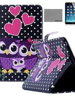 COCO FUN® Dots Owl Family Pattern PU Leather Flip Stand Case with Screen Protector and Stylus for Apple iPad 2/3/4