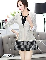 Women's Casual Work Medium Long Sleeve Regular Blazer (Lace)