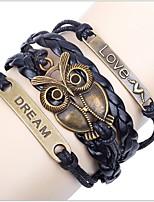 Unisex Fashion Copper Owl Leather Bracelet