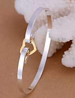 Fashion Heart Shaped Silver Plating ColorS Euramerican Contracted Silver Adjustable Bracelet(Silver)(1Pc)