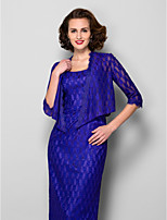 Women's Wrap Coats/Jackets Half-Sleeve Lace Royal Blue Wedding / Party/Evening V-neck Lace Open Front