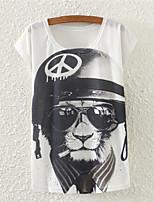 Damen T-Shirt Baumwoll-Mischung Kurzarm Rundhalsausschnitt