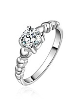 Fashion Heart Shape Silver Plating Simple With Zircon Ring(Silver)(1Pc)