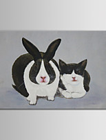 IARTS Oil Painting Modern Animal Two Lovely Rabbit Bunny Hand Painted Canvas with Stretched Frame