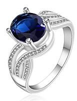 European Style Simple Oval Shape Copper Silver Plated Zircon Ring For Women's(Blue)(1Pc)