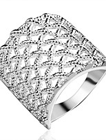 European Style Net Shape Silver Plated Copper Ring For Womens(Silver)(1Pc)