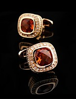 Toonykelly Fashion Men's Gold Copper Orange Crystal Cufflink(1 Pair)