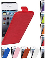 genuina caballo loco de la PU de cuero delgada de la cubierta del caso del tirón ligero para iPhone 4 / 4S
