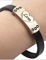 Unisex Korean Fashion Alloy Heart LOVE Leather Bracelet in Daily