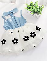 Baby Kids Girls Summer Sleeveless Cowboy Tops Waist Flower Printed Party Tutu Dresses (Cotton Blends)