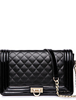 NUCELLE Women Real Genuine Cowhide Leather Baguette Clutch Purse Messenger Shoulder Hand Bag Chain Quilted -Black