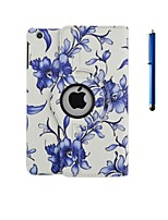 360 Degree Rotation Blue Flower Pattern PU Leather Case with Stand and Pen for iPad 2/3/4