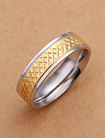 Fashion European Style Round Shape Metal Wholesale Gold Ring For Men's(Gold)(1Pc)