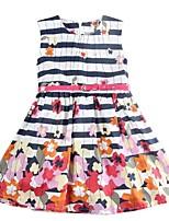 Girl's Dress Sleeveless Letter Stripes Kids Floral Wear Kids Dresses(Random Printed)