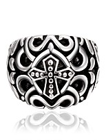 Baked Enamel Black Religious Cross Lucky Clover Stainless Steel Biker Rings