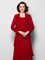 Women's Wrap Coats/Jackets Long Sleeve Chiffon Burgundy Wedding / Party/Evening Wide collar 39cm Draped Open Front