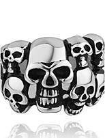 Never Fade  Plated Men's Knuckle Biker Ring 316L Stainless Steel Skull Punk Finger Band Rock Jewelry Rings For Man Gift