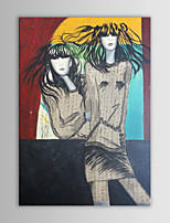IARTS Oil Painting Modern Abstract People Fashion Twins Hand Painted Canvas with Stretched Frame