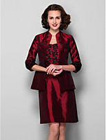 Women's Wrap Coats/Jackets 3/4-Length Sleeve Taffeta Burgundy Wedding / Party/Evening Wide collar Draped Open Front
