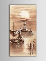 בד iarts יד סירות ים הנוף מודרני ציור שמן שצויר במסגרת מתוחה