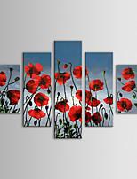 iarts pintura a óleo moderna flores vermelhas floral tapeçaria conjunto de 5 mão telas pintadas com quadro esticado