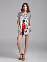 Damen T-Shirt Kunstseide Kurzarm