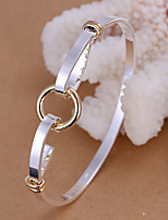 European Style Round Shape Classic Silver Plated Copper Bangle Bracelets (Silver)(1Pc)