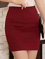 Women's Casual Work Micro-elastic Medium Above Knee Skirts (Cotton)