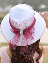 Women Polyester / Straw Bow Bucket Hat,Cute / Party / Casual Spring / Summer / Fall