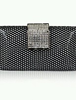 Women Vintage Black Clutch Bags Honeycomb Pattern with Crystal Stone