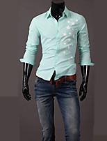 Men's Long Sleeve Shirt , Cotton Blend Casual/Work Print