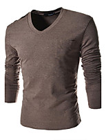 Men's Casual Pure Long Sleeve Regular T-Shirts