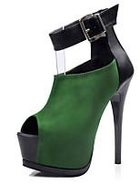 Zapatos de mujer Ante Sintético Tacón Stiletto Cuñas/Tacones/Punta Abierta/Plataforma Sandalias Casual Negro/Gris/Bermellón