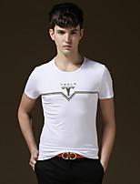 Herren Freizeit/Büro/Sport/Übergröße T-Shirt  -  Druck/Einfarbig Kurz Baumwolle