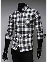 Men's Long Sleeve Shirt , Cotton Blend Casual/Work Plaids & Checks