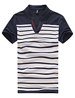 Katoen - Gestreept - Heren - T-shirt - Informeel - Korte mouw