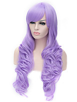 The New Cartoon Color Wig Light Purple Inclined Bang Curly Hair Wigs