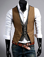 Men's Vest , Cotton Blend Work/Formal Pure