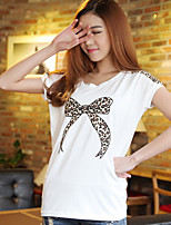 Women's Vintage Sexy Casual Cute Party Micro Elastic Short Sleeve Regular T-shirt (Cotton)