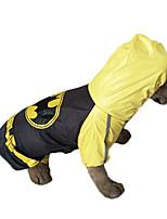Yellow Waterproof Batman Cotton Big 2XL-5XL RainCoat For Dogs