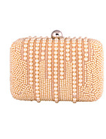 Women Bags All Seasons Polyester Evening Bag with Pearl Detailing for Wedding Event/Party Formal Champagne White