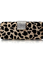 Women Leopard Pattern Clutches Evening Gold/Silver with Crystals