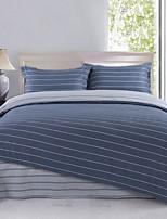 dunkelblauen Streifen Baumwoll-Bettwäsche Set 4pcs Queen-Size-