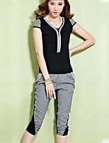 Women's Casual Work Micro Elastic Short Sleeve Regular Set (Cotton)
